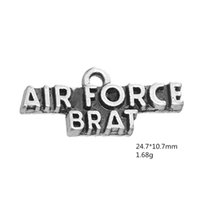 Wholesale Family Force - Hot Selling Antique Silver Plated Army Air Force Family Charm Accessory Word Charm Pendant For Bracelet & Necklace Jewelry