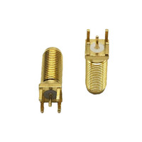 10Pcs \ Lot Freeshipping SMA-KE15 Gold Plated SMA Female Plug Long Dental Straight Solder PCB Board Mount RF Coaxial Connectors