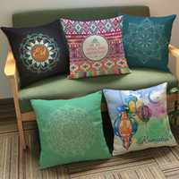 velvet case culture - Islam Decor Cushion Covers Muslim Mandala Styles Middle East Ramadan Culture Art Pillow Case Square Home Car Sofa Decorative Pillowcase