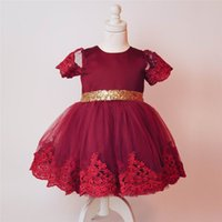 Wholesale Big Girls Dress - Retail 2017 New Baby Girl Princess Dress Sequins Big Bow Lace Party Wedding Dress Children Clothing 1-6Y CC022