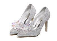 Wholesale Soles Shoe Slip Resistant - 2017 new man-made plastic crystal decoration high-grade wear-resistant rubber non-slip soles shiny silver high heels 35-40 yards