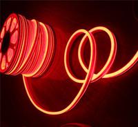 bandes de lumière led orange achat en gros de-Vente chaude commerciale led néon éclairage orange 20m bobine 11x19mm Flat ultra mince bande flexible néon-flex corde 220V 110V pour les bâtiments