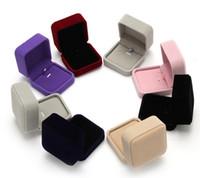 caixas para vender jóias venda por atacado-Venda quente Flocking Artificial veludo colar caixa de presente caixa de jóias local atacado pode ser personalizado LOGO embalagem caixa de fábrica