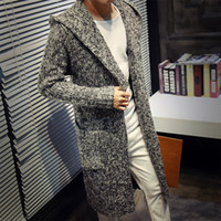 Wholesale Cardigan Big Size - Autumn Winter Loose Long Mens Cardigans Sweaters New Fashion Big Size Jumpers Mens Hooded Sueter Knit Sweater Jersey Sudaderas