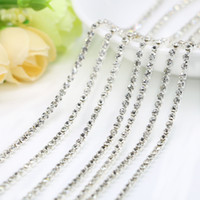 Wholesale Wholesale Cups Plates - Crystal Clear Rhinestone Plated Silver Copper Cup Chain For Jewelry Making, Sew on Dress, Diy Craft, SS6.5-SS12, 10Meters Pack