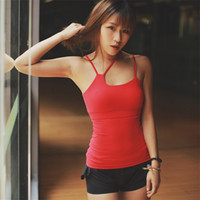 Wholesale Tight Black Tank - Padded Yoga Top Women Sleeveless Running Tight Elastic Sexy Sports Tank For Fitness Gym Women's Sports Tank Tops 2501100