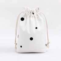 spots tote bags - 22 cm Cotton Canvas Drawstring Bags Muslim Style Simple Personality Black Spots White Cloth Sacks Good Quality