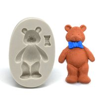 Wholesale Tie Chocolate Mold - Bear with Tie Silicone Mold Cupcake Decorating Tools Chocolate Moulds for Fondant Jungle Animal Cake Template Kitchen Soap SM-578