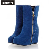 Wholesale High Heels Size 32 - Wholesale-Big size 32-43 New Famale winter boots Snow boots Wedged heel Flock Zipper Platform High heels boots Hot sale Warm Fashion Cute