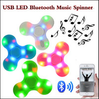 Wholesale Usb Bluetooth Music - Fidget Spinner USB LED Bluetooth Music Hand Spinner Fidget toy EDC Toy Decompression Anxiety Toys Gyro Toys With Retail Box in stock