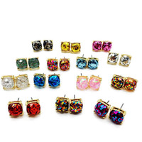 Wholesale Cute Face - Free Shipping New Design Square Glitter Sweet Earring Stud, Party Cute Earring, Elegant Earring, Hot Selling Factory Earring