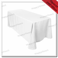 Cubiertas De La Tabla Rectangular De La Boda Baratos-Paño de tabla rectangular de la boda del poliester de Wholesale-15pcs / lot los 295 * 150cm en la cubierta blanca de la tabla del favor de BanquetParty del color
