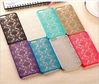 Wholesale Iphone Rubberized Hard Cases - Hard Plastic Phone Cases Lace Damask Rubberized Matte Cover for iphone 6 6s 7 7plus With Kraft Pap