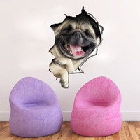 Wholesale Waterproof Decals Bathroom - Vinyl waterproof Cat Dog 3D Wall Sticker Hole View Bathroom Toilet Living Room Home Decor Decal Poster Background Wall Stickers
