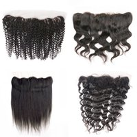 Wholesale Brazilian Hair Frontals - lace frontal closure 4x13 ear to ear lace frontals free middle part unprocessed virgin brazilian human hair straight body deep wave curly