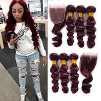Wholesale Red Brazilian Hair - Brazilian Loose Wave Virgin Hair Burgundy 3 Bundles With Lace Closure Wine Red #99j Human Hair With Closure 4Pcs Lot Burgundy Hair