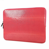 Wholesale Cheap Leather Ipad Air Cases - Snake Skin PU Leather Sleeve Case for Macbook Air Pro Retina 12 13 15 Inch Zipper Laptop Bag Cover for Lenovo Samsung Notebook Cheap price