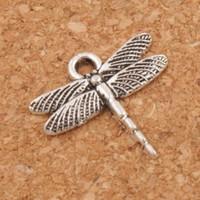pulseiras de libélulas venda por atacado-Fina Aerofólio Vôo Libélula Encantos Pingentes 200 pçs / lote Tibetano Prata Moda Jóias DIY Fit Pulseiras Colar Brincos L968 16.6x16.2mm