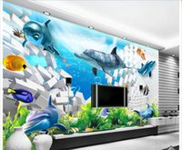 Wholesale chinese fish pictures resale online - 3d wallpaper custom photo Non woven mural Seafood Dolphin Fish Brick Wall room decor painting picture d wall muals wall paper for walls d