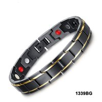 Wholesale Mens Health Bracelets - Black and Gold Mens Stainless Steel Health Bracelets with Magnets, Germanium, Infrared Stone,Ion 4 in 1 Energy Magnetic Bracelet