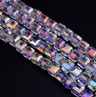 perles de verre en vrac 8mm achat en gros de-Navire Libre NOUVEAU 500 pcs AB Facettes Suqare Cristal Verre Lâche Spacer Perles Pour La Fabrication de Bijoux 4mm 6mm 8mm