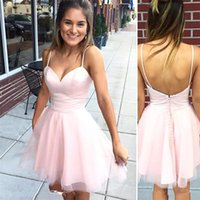 2017 New Fashion Mini Pink Cocktail Dresses Spaghetti Straps Cetim Tulle Girls Short Prom Dress Party Gowns Tamanho personalizado