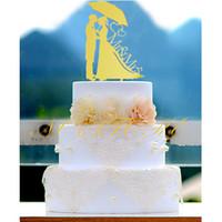 Wholesale Bride Groom Wedding Cake Topper - Bride and Groom Kissing Under the Umbrella Silhouette Wedding Cake Topper Mr & Mrs Cake Toppers wedding decoration