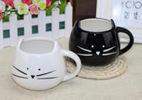 Wholesale White Porcelain Tea Cups - New Novelty Cute Cat Animal Milk Mug Ceramic Creative Coffee Porcelain Tea Cup