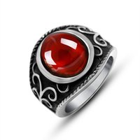 Wholesale Set 316 - High Quality Red Stone Women Men Ring 316 Stainless Steel Exquisite Fashion Popular Jewelry Alondra Carved Cut rubies Ring