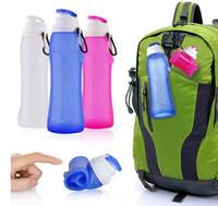 складные пластиковые бутылки с водой оптовых-Пищевой 500мл Творческий Складной Силиконовый напиток Спортивная Бутылка Воды Кемпинг Путешествия моя пластиковая бутылка велосипеда