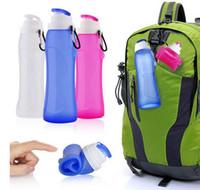 botellas de plástico plegables al por mayor-Food Grade 500ML Creativo Plegable Plegable Bebida de silicona Deporte Botella de agua Camping Viaje mi botella de bicicleta de plástico