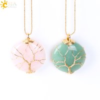 Wholesale tree life family gifts - CSJA Tree of Life Wholesale Lovers Necklace Jewelry Men & Women Neck Jewellery Natural Semi-precious Stone Gold Necklaces Family Gift E599 B