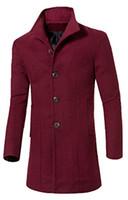 Wholesale Trench Coat Men Wholesale - Wholesale- Abetteric Abetteric Stand Collar Woolen Long Trench Pea Coat Windbreaker Jacket