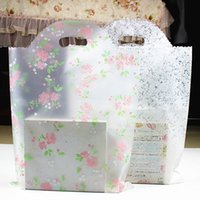 Wholesale Wedding Shopping Bag Gift Favor - 50pcs lot Lovely Floral Gift Bag Thicken Plastic Carry Bag Shopping bag Wedding Party Favor Package