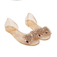 mujeres jalea zapatos pisos colores al por mayor-Nuevas mujeres de la llegada Sandalias de verano Bling Bowtie Moda Peep Toe Jelly Shoes sandalias planas Mujer 2 colores Tamaño 35-40 XWZ722