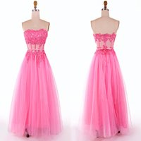 Wholesale Vintage Net Tulle Ruffled Tiered - Sweetheart Prom Dress Sexy See Through Formal Evening Gowns Long Tulle Prom Dresses New Arrival Lace Applique Net Prom Dress Free Shipping