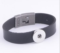 Wholesale Wholesale Handmade Metal Bracelets - 18-20MM Snap Metal Wide Leather Bracelets Fit Snaps Buttons with Magnetic knot Ginger snap jewelry handmade diy makinb