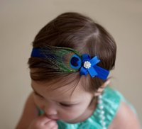 NOUVELLE ARRIVÉE Enfant Headband Peacock Feather Rhinestone Princesse Elastic Hairband Newborn Girls Bow Headdress Hair Bands Accessories.8pcs \