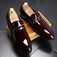 Wholesale Low Cut Formal Dresses - Men Brand Designer Shine pointed Metal buckle Formal Shoes Male Homecoming Dress Wedding Prom Sapato Social Masculino