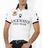 relojes xxl hombre s al por mayor-Nuevo estilo Polo hombres negro reloj clásico camisetas Casual personalizado ajuste manga corta algodón grande caballo Polo Team camisetas S-XXL