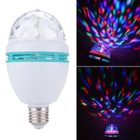 Wholesale Auto Led Mini Light Bulb - E27 3W LED Mini RGB Crystal Auto Rotating LED Stage Light DJ Disco Club Lamp Bulb KTV Effect mini Stage lights