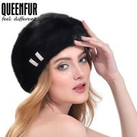 Wholesale Genuine Mink Hat - Wholesale-QUEENFUR Women Fashion Berets Whole Skin Mink Fur Cap With Diamond Genuine Mink Fur Hat Octagon Beret Hat For Girls Woman's Caps