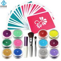 Wholesale Shimmer Temporary Tattoos - glitter tattoo set OPHIR 12x Shimmer Powder Temporary Glitter Tattoo Set for Body Art Paint with Body Glue 20 Designs Stencil &