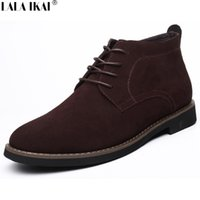 All'ingrosso caldo Breve peluche pelliccia Stivali 2016 Big Size 38-45 Vintage Leather Lace Up pelle scamosciata Mens Boots Casual High Top Stivali invernali XMF0027-5