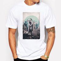 Wholesale Dj Cute - Camping & Hiking T-Shirts Summer Cute DJ t shirt Men Sea lions animal new York T-shirt hip hop fitness white funny tshirt homme Tops Tees