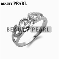 5 Pieces Pearl Mounts Configurações do anel 925 Sterling Silver Double Heart Ring Zircon DIY Jewellery Findings