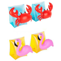 Wholesale Wholesale Crab Rings - Kids Inflatable arm band cartoon swimming armlet flamingo Crab Baby swim rings safty assistive tools