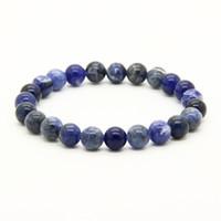 ingrosso blu di jasper-Commercio all'ingrosso 10pcs / lot a buon mercato colori della miscela 8mm Jasper Aqua Terra, Bronzite, vene blu, braccialetti di energia con perline di pietra rutilata