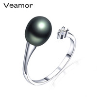 Wholesale real pearls for sale - Veamor HOT SALE High Quality Real Freshwater Pearl Ring Pearl Jewelry for Men 100% Nature Freshwater Pearl Christmas Gift