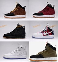 Wholesale A1 Rubber - Real leather Lunar air 1 Duckboot Men's Sneaker High cut Skateboard shoes Walking Outdoor Sports Shoes Jogging A1 Shoes
